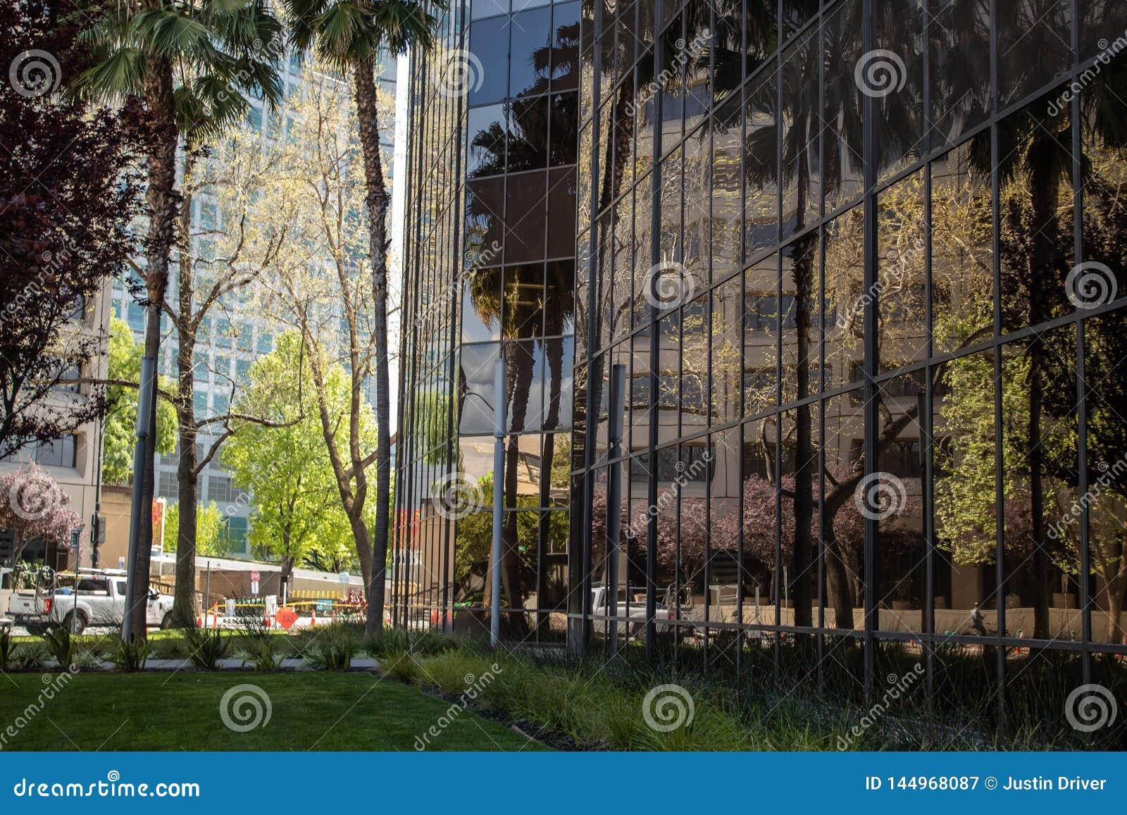 Reflexion av den i stadens centrum miljön