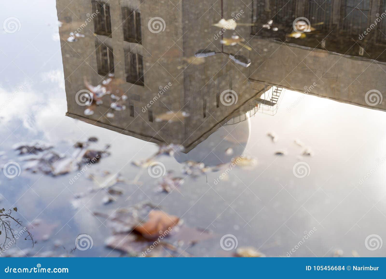 Reflexion av en byggnad i en pöl