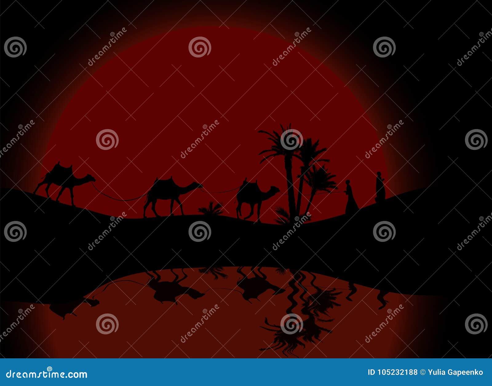 Reflexion i vattenkontur av att irra för för husvagnmit-folk och kamel