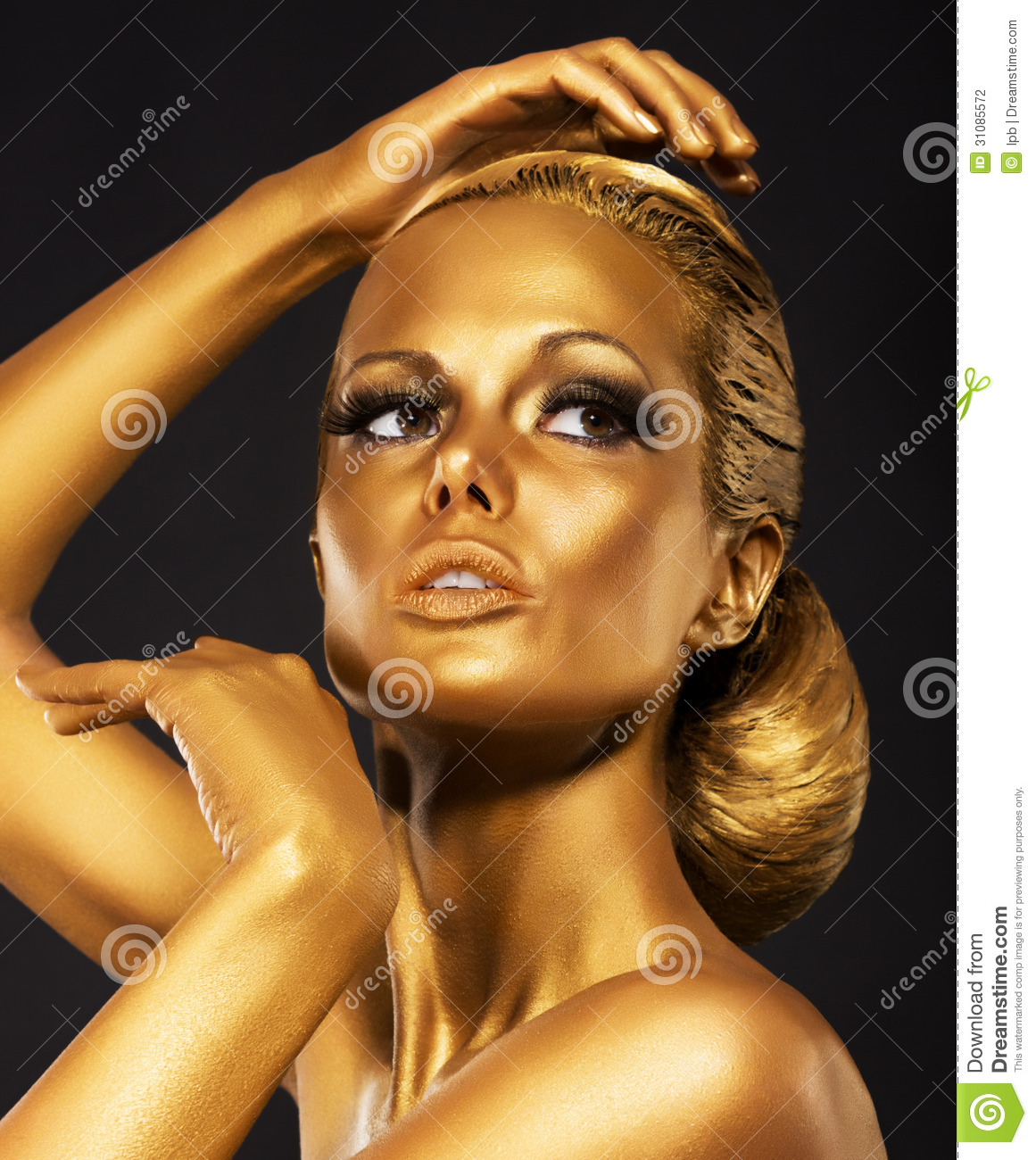 Golden Girls Reflexion Portrait Of Glossy Woman With Bright Golden