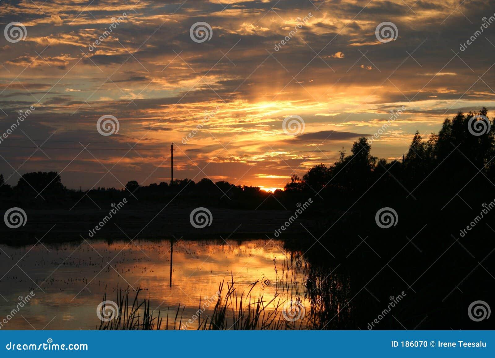 Reflexiones de la puesta del sol