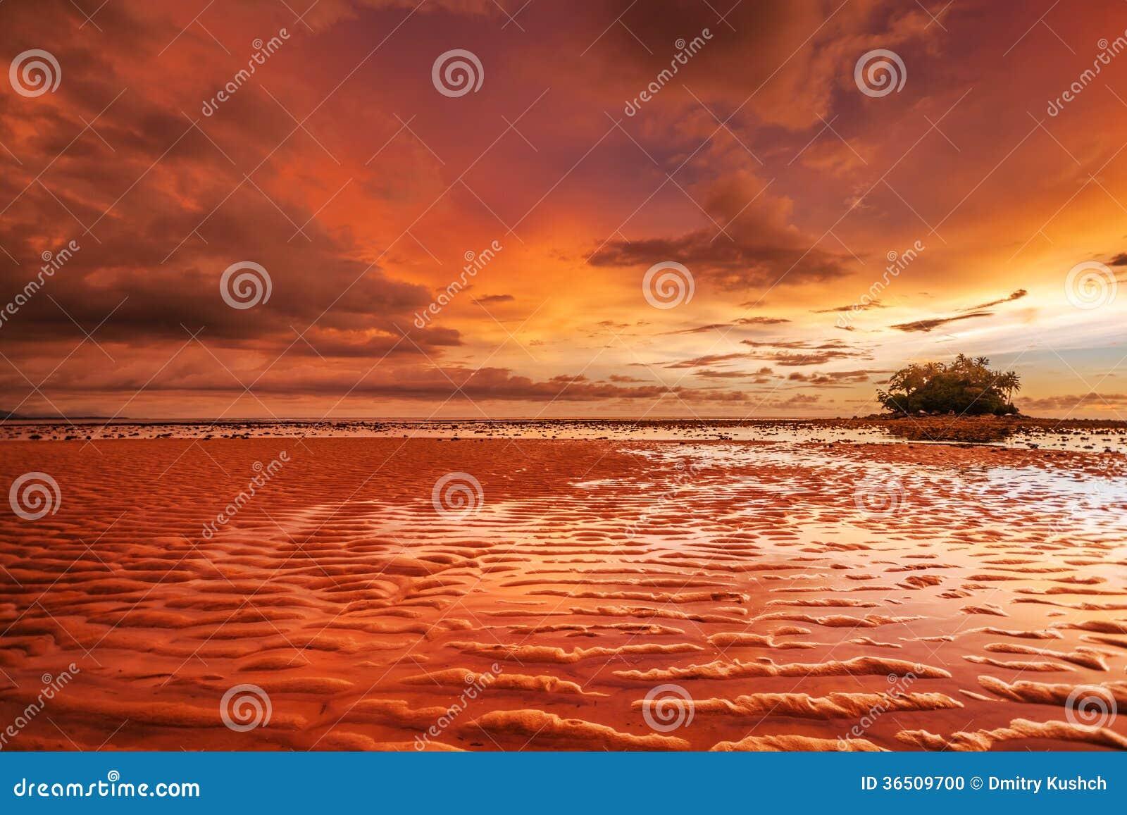 Reflux de coucher du soleil
