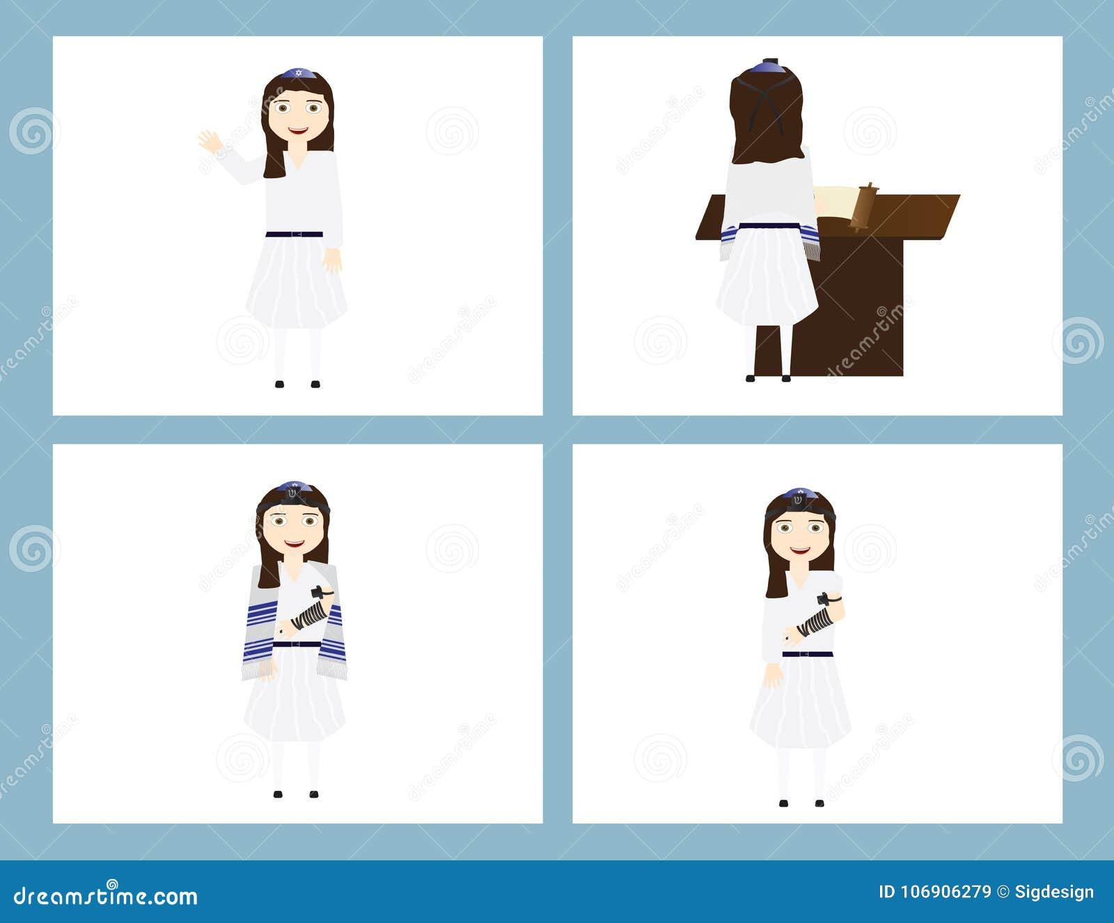 Reformy Żydowska dziewczyna w tradycyjnym nietoperza mitzvah