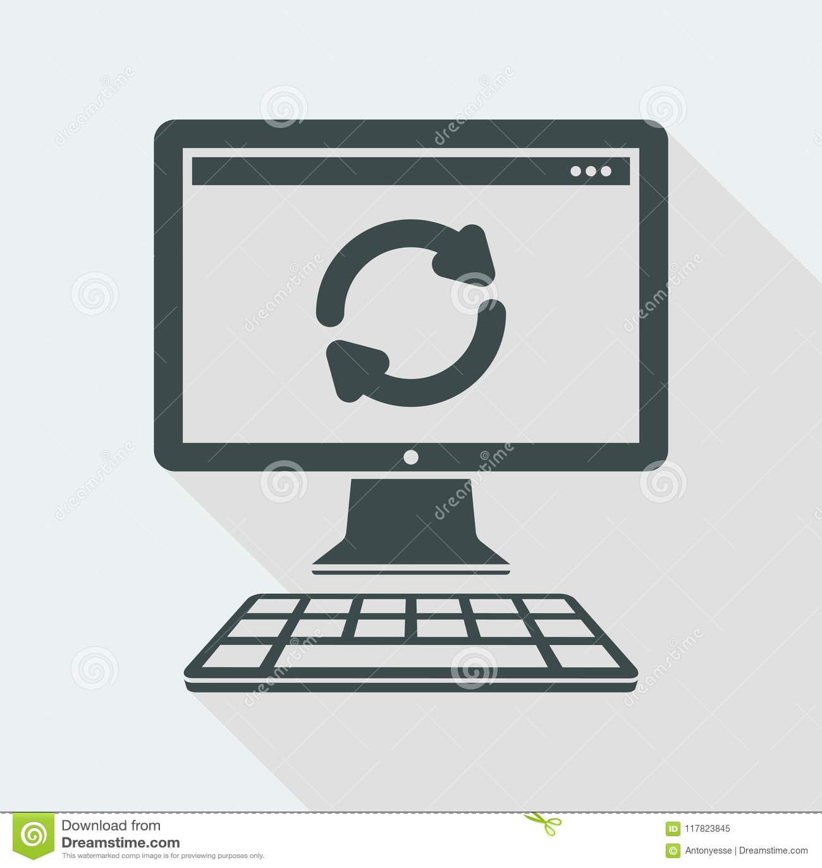 Refresh Computer - Vector Flat Minimal Icon Stock Vector