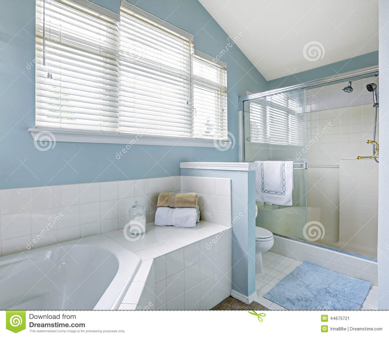 Refreshing Bathroom Interior In Light Blue Tone Stock Image - Image ...