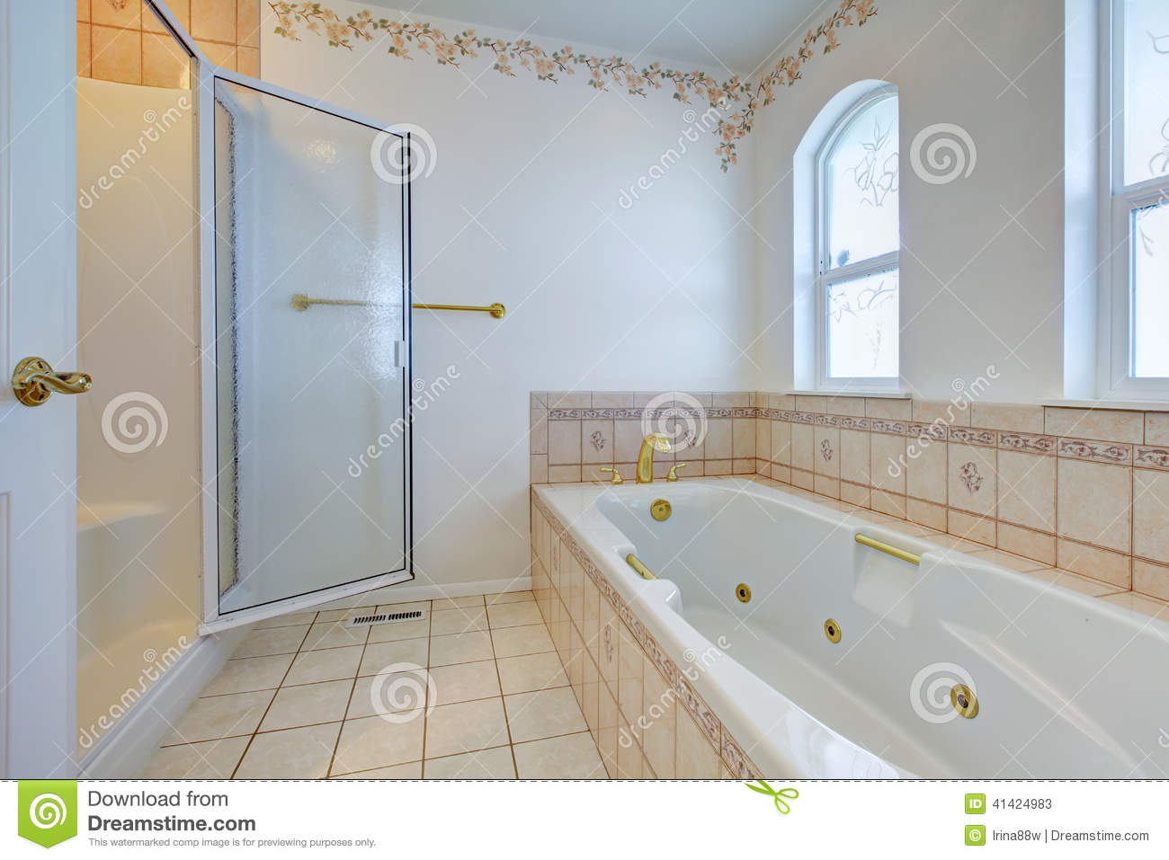 Refreshing Bathroom Interior With Tile Wall Trim Stock Image - Image ...