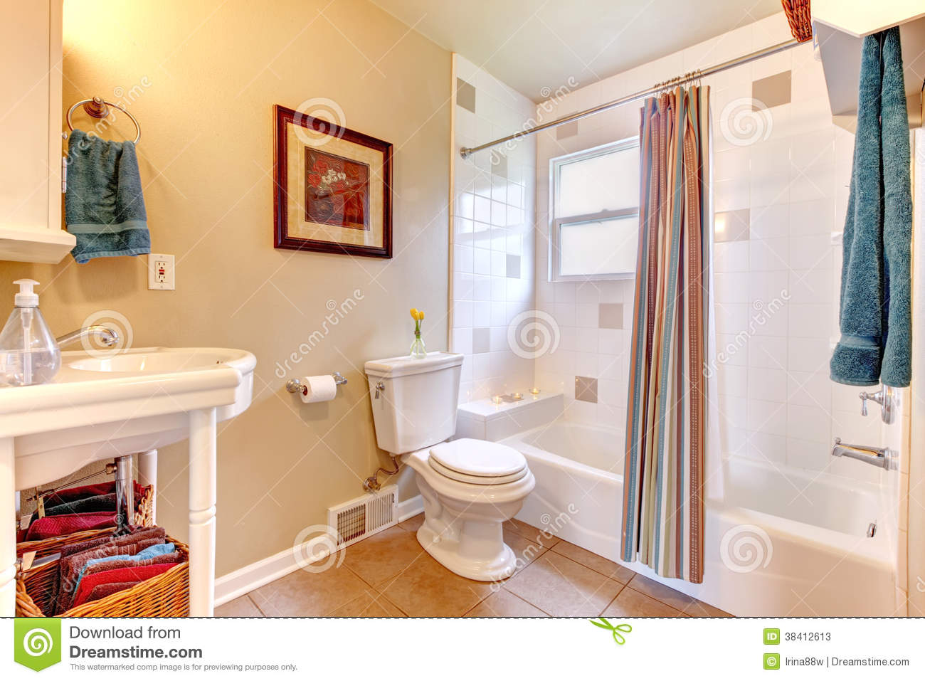 Refreshing Bathroom With White Tub And Beige Tile Floor – White and Beige Bathroom