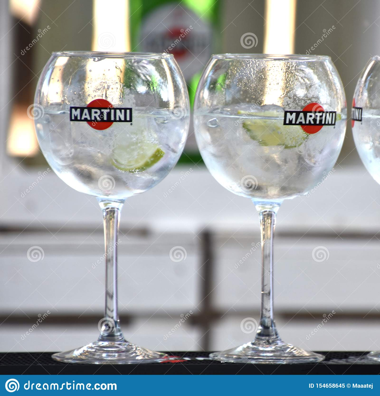 Two Glasses Of Martini Bianco Cocktail Editorial Image
