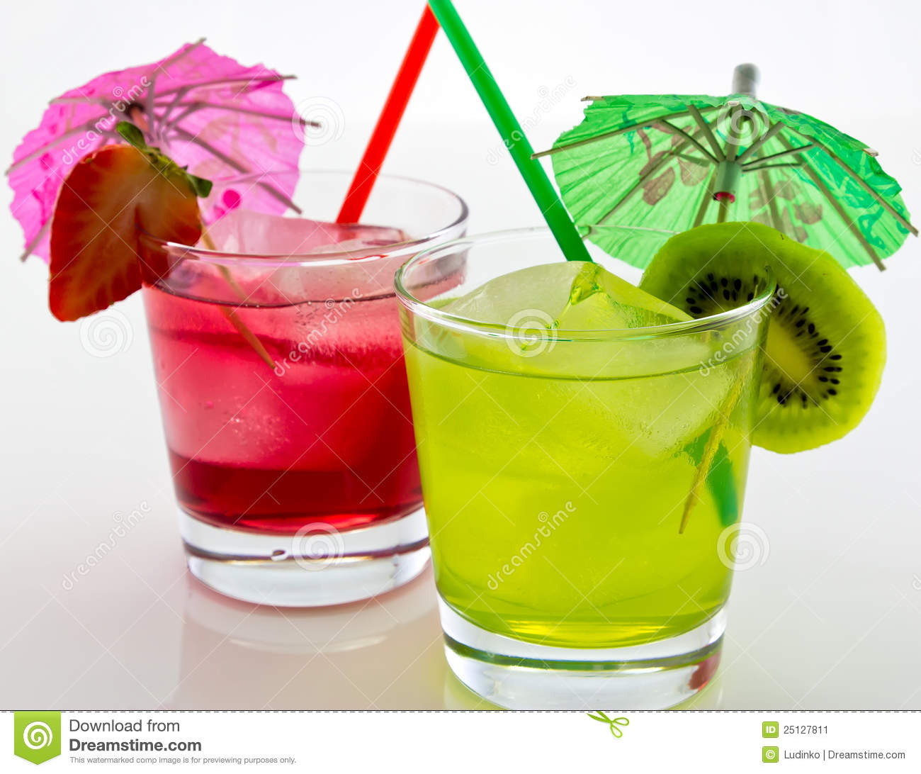Refreshing Drinks With A Straw And Umbrella Stock Image