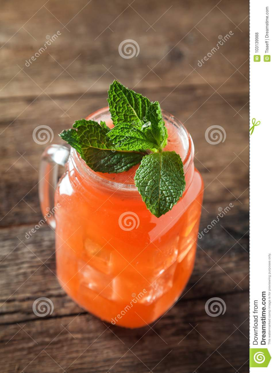 Refreshing alcoholic cocktails garnished with fresh mint