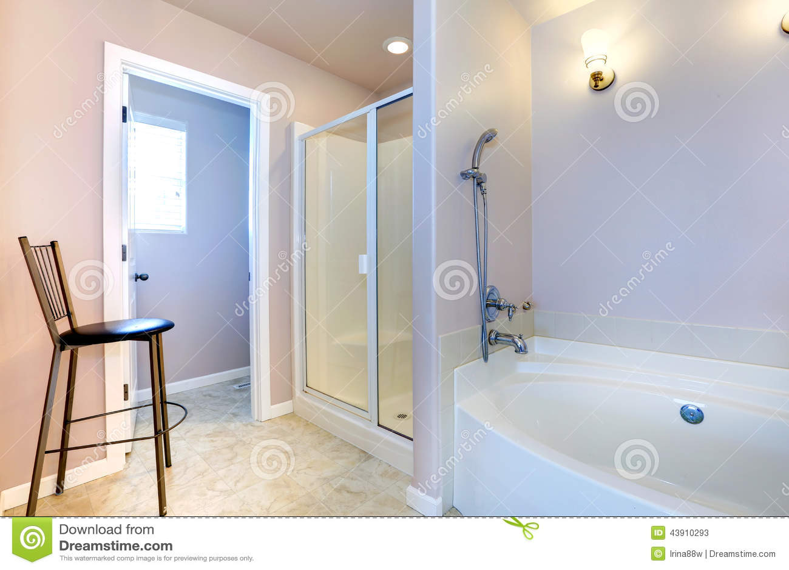 Refreshing light lavender bathroom with white bath tub and - Lavender and white bathroom ...