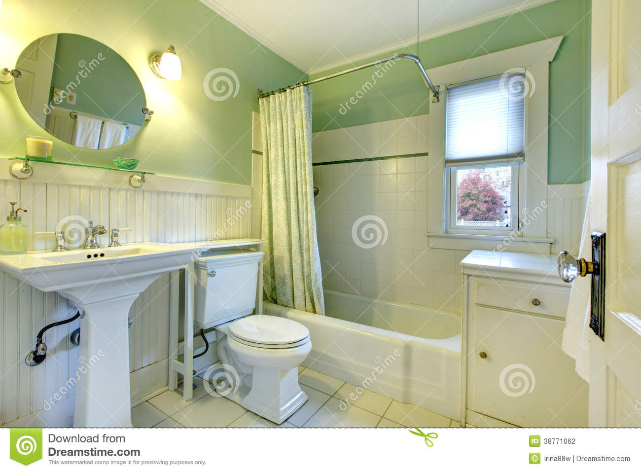 Refreshing mint bathroom stock photo. Image of bath ...