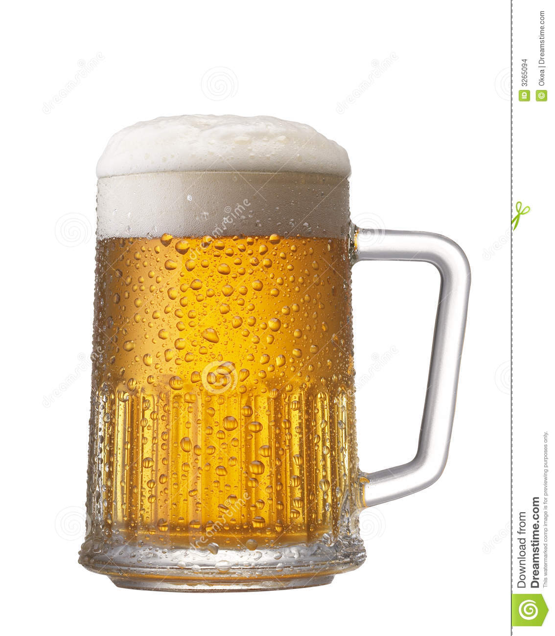 Cool white and red background - Mug Of Golden Beer With Frothy Head Against White Background