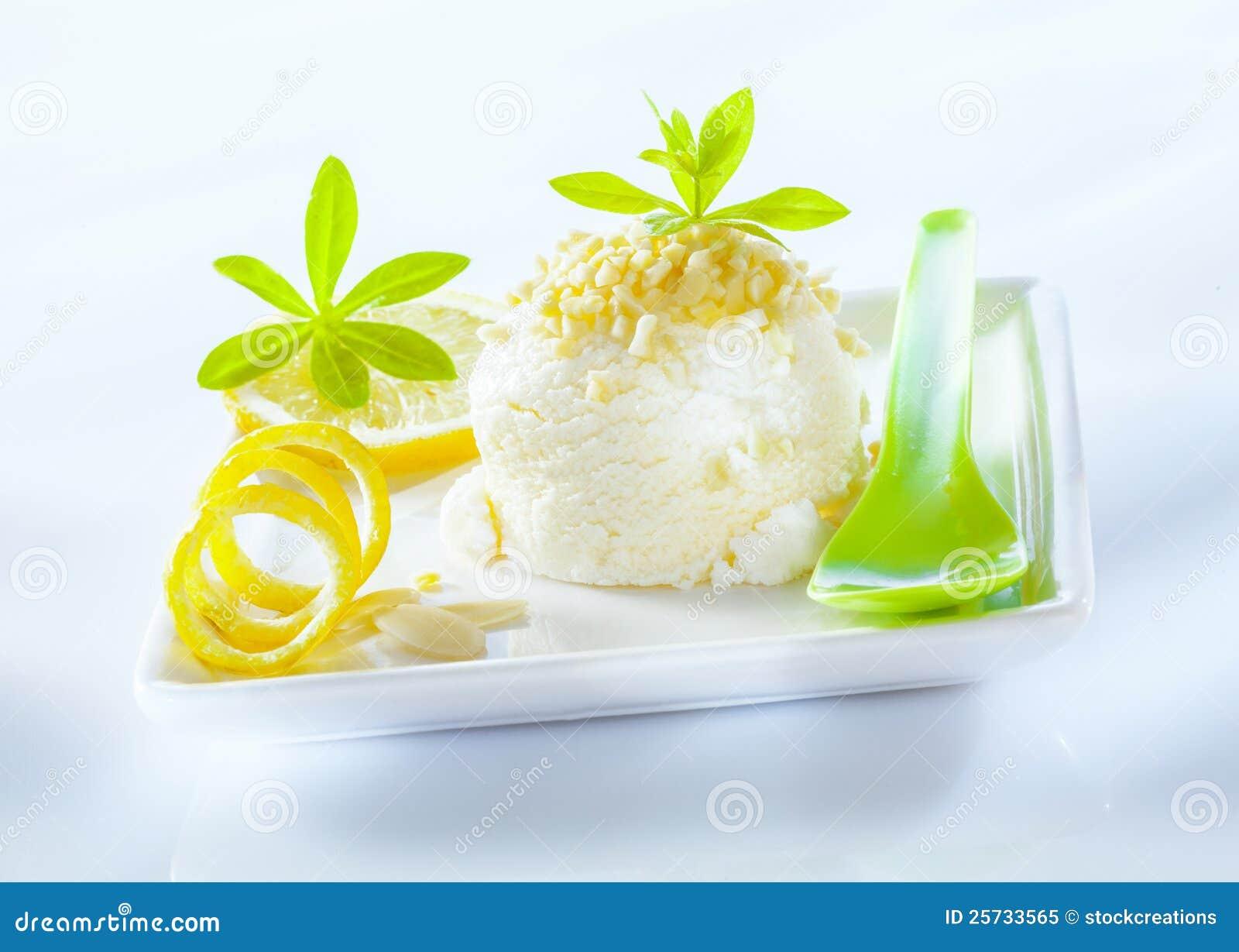 Refreshing sour lemon sorbet dessert
