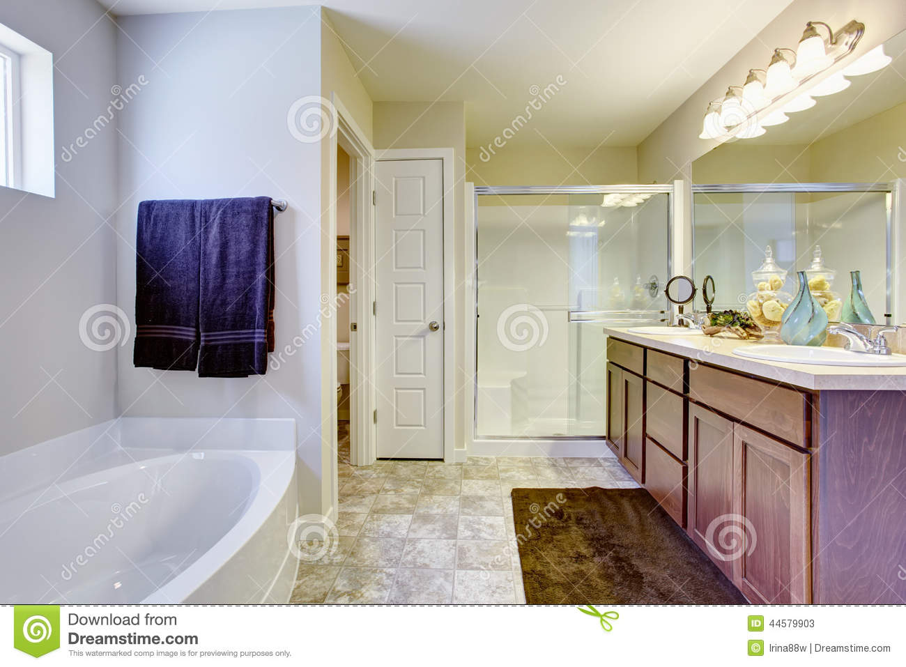 Refreshing White Bathroom With Glass Door And Bath Tub Stock Image
