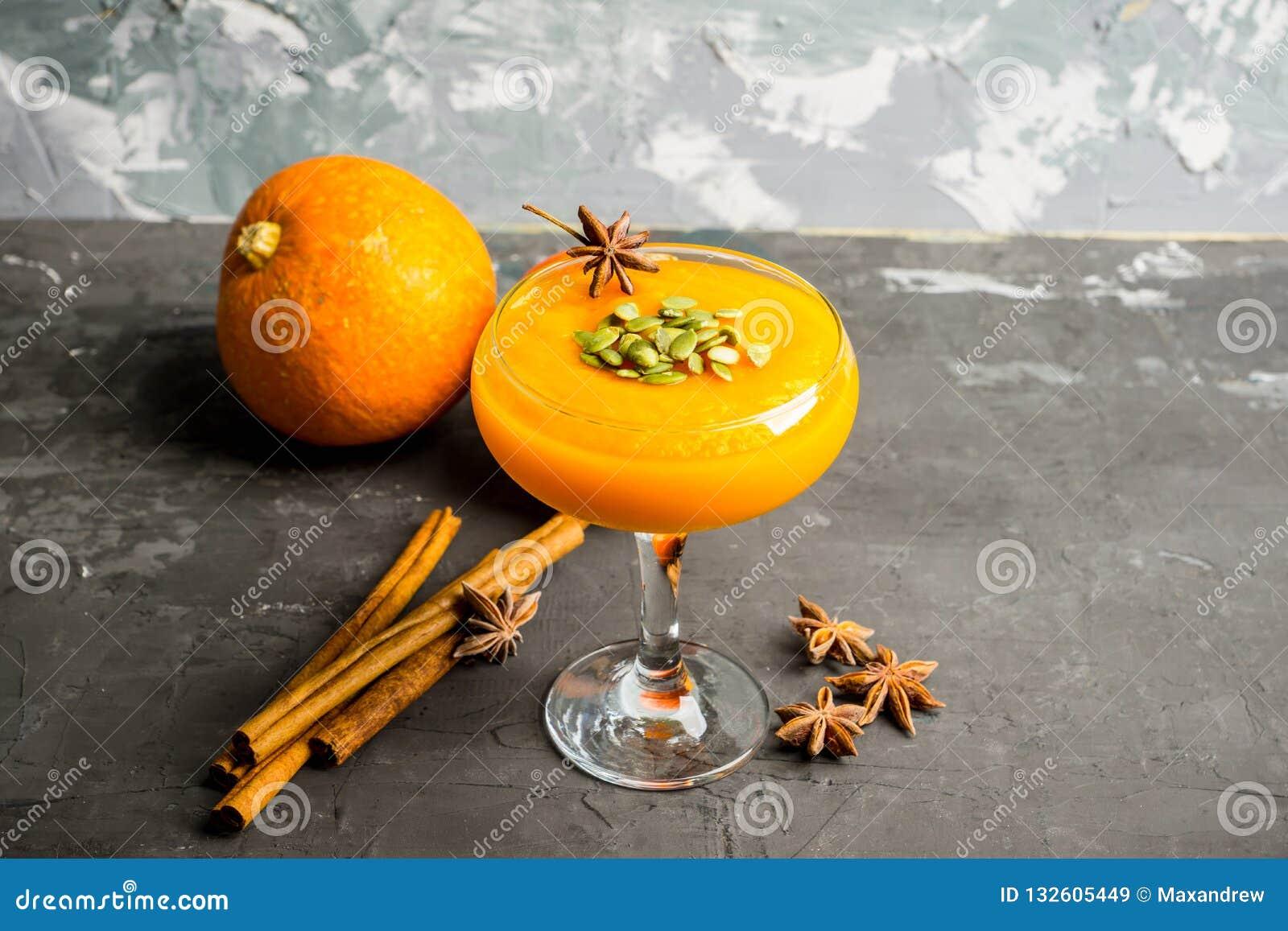 Refreshment and healthy autumn pumpkin drink