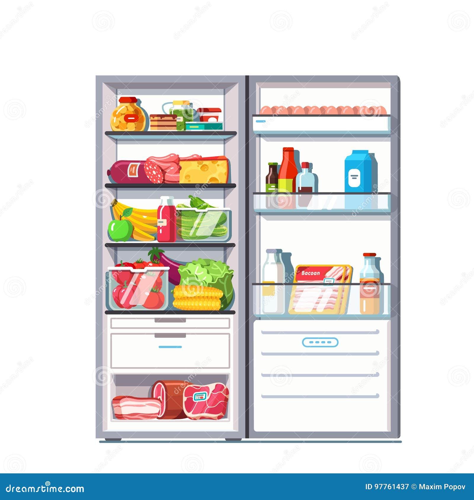 Refrigerador do estar aberto completamente dos vegetais, frutos