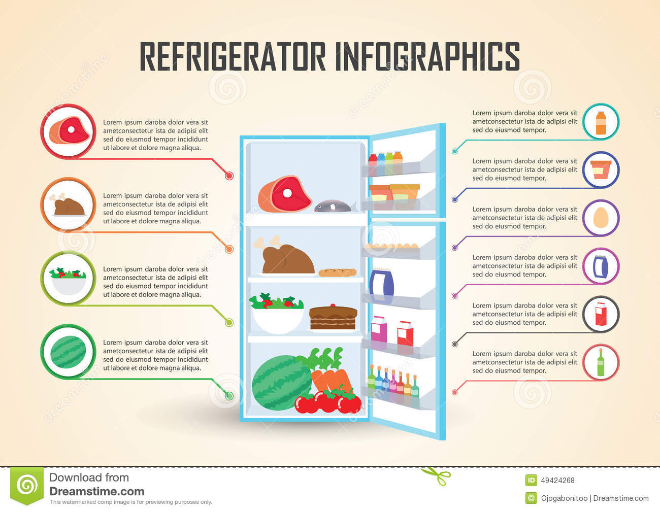 Refrigerator With Food Icons Infographic Elements Stock