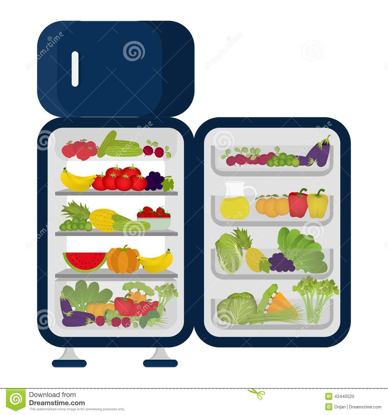 Refrigerator Full Of Vegetables And Fruits Stock Vector