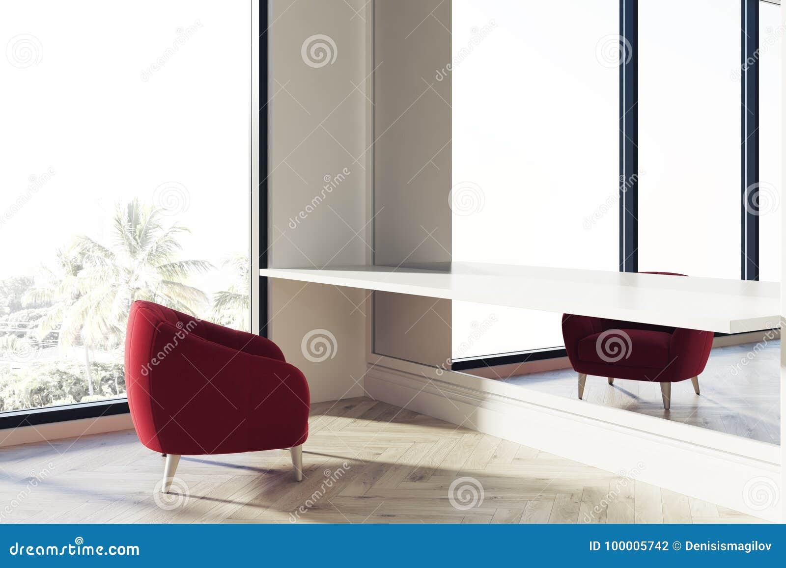 Refuge de bureau fauteuil rouge fenêtre illustration stock
