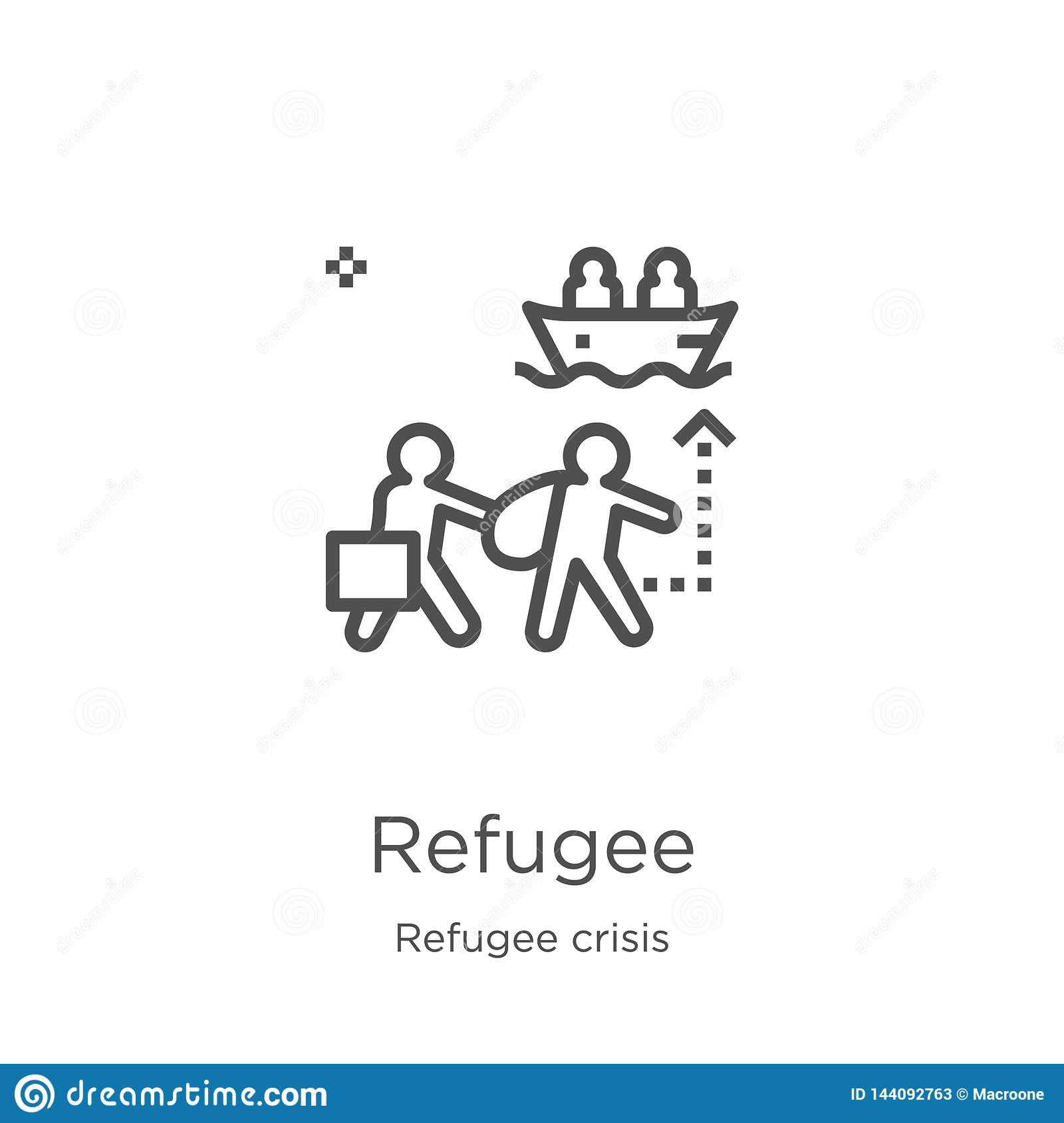 refugee icon vector from refugee crisis collection. Thin line refugee outline icon vector illustration. Outline, thin line refugee
