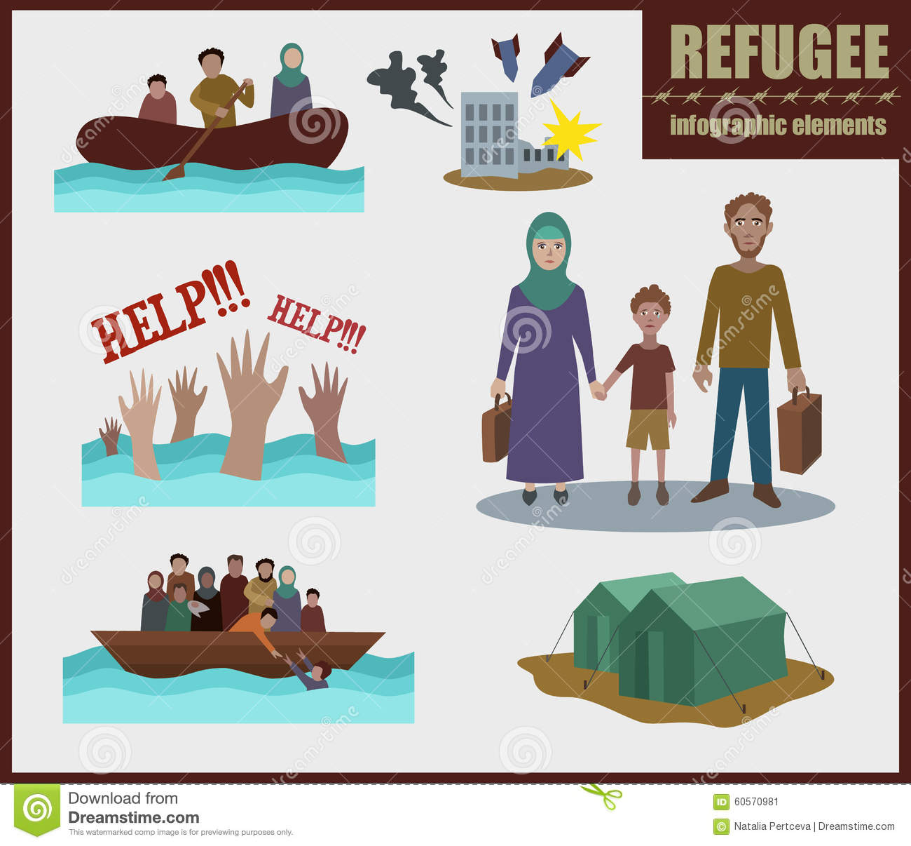 Character Design Illustration : Refugee vector infographic elements stock image