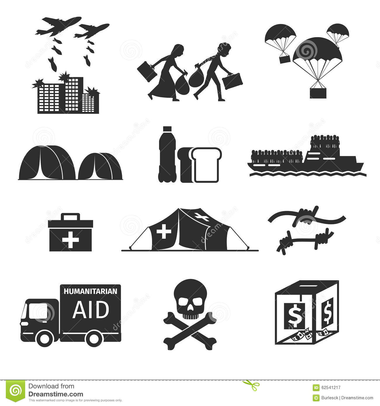 refugees evacuee concept  war victims black icons stock vector