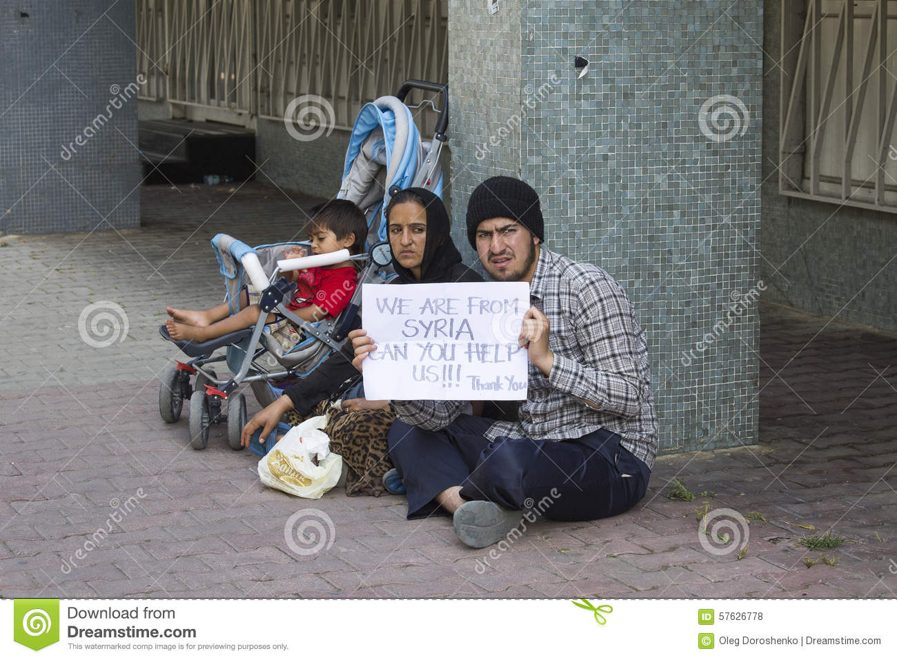 Refugees from Syria are asking for help on the street in Istanbul, Turkey