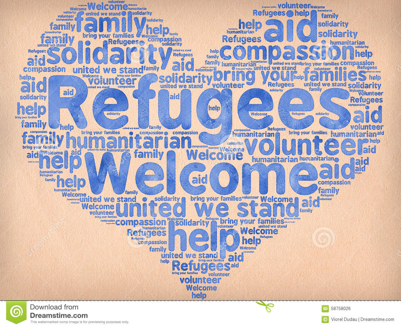Refugees Welcome slogan written in watercolors on paper and other ...