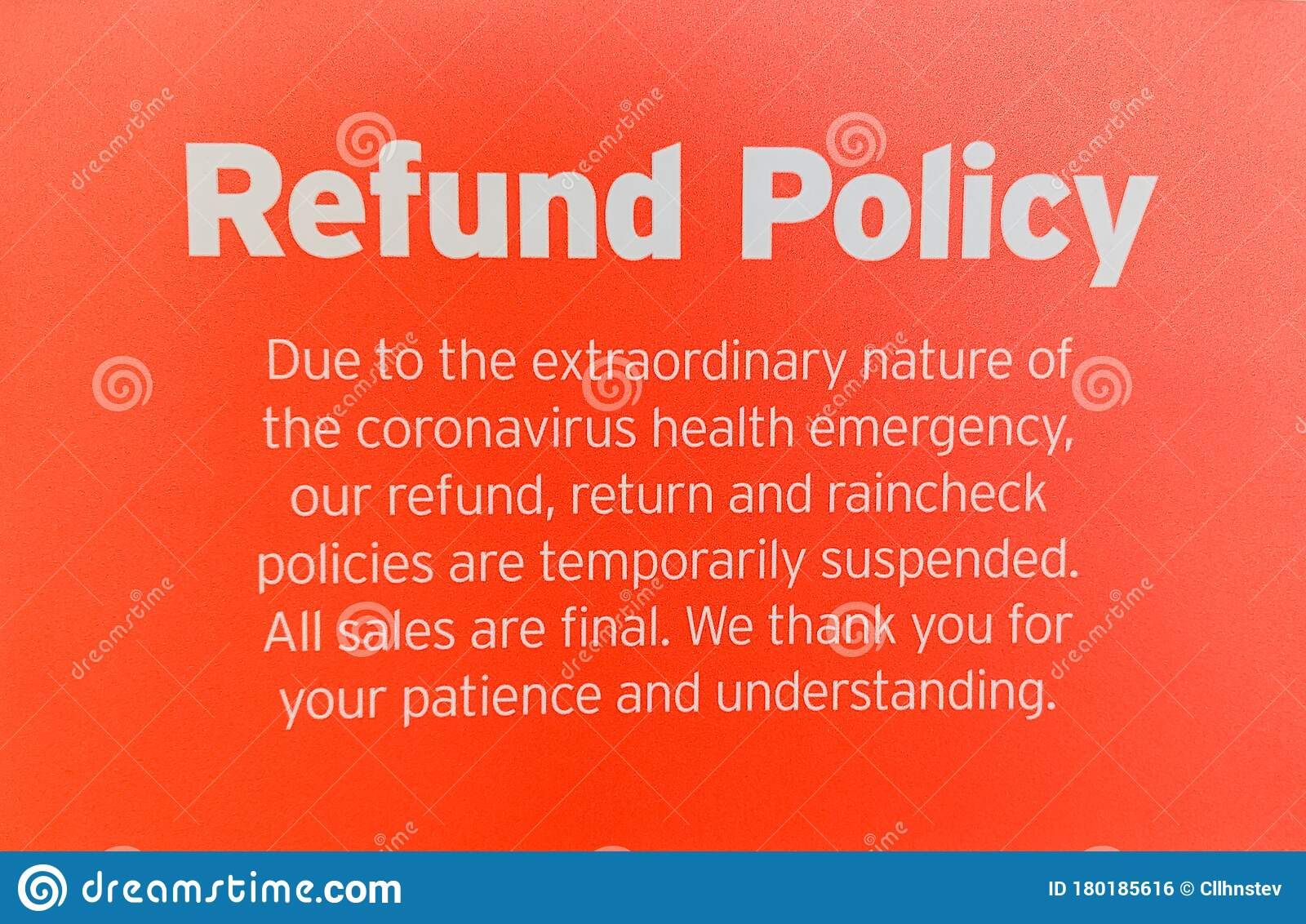 Refund Policy Due To Health Emergency Banner Stock Photo Image Of Final Covid19 180185616