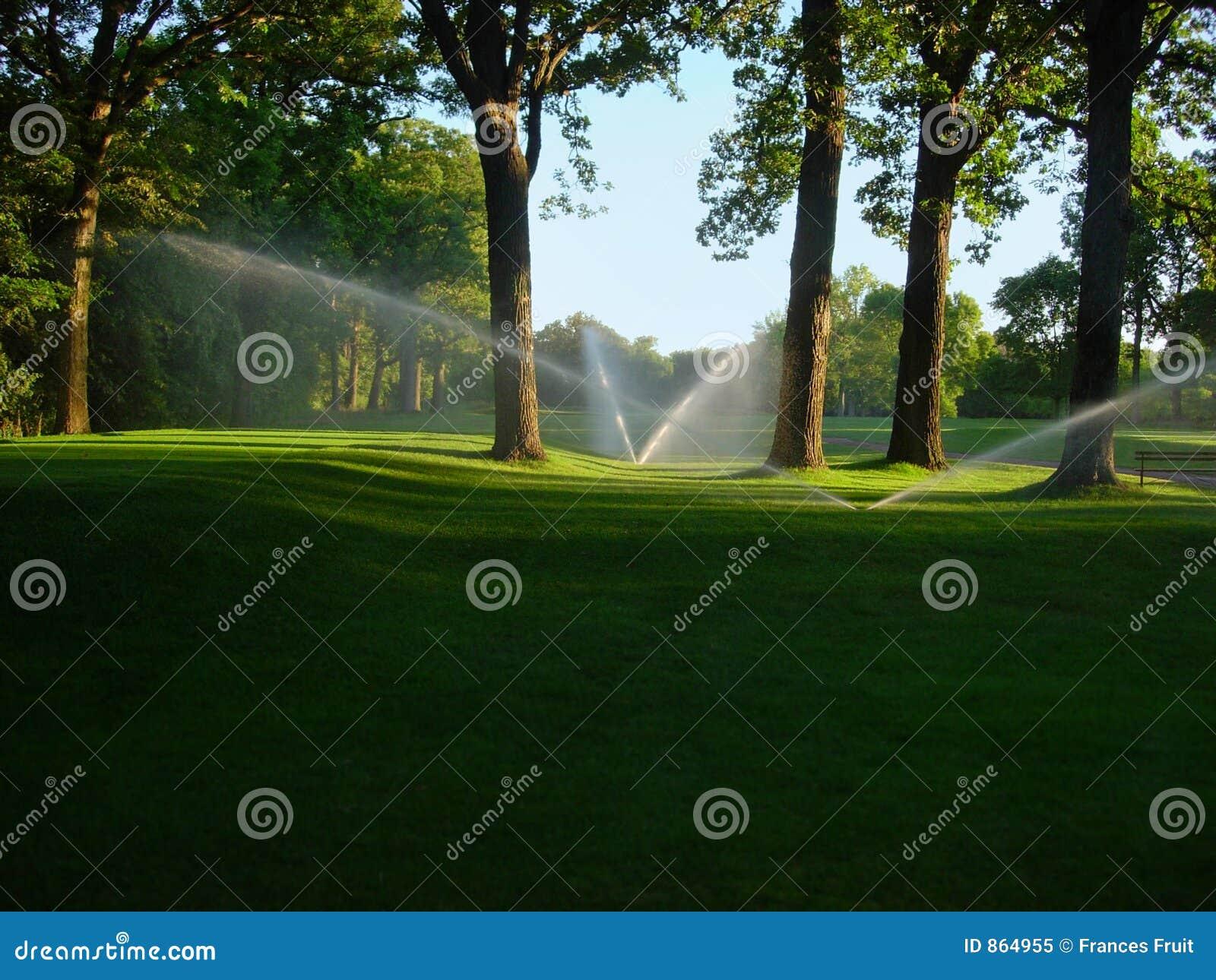 Regaderas en campo de golf
