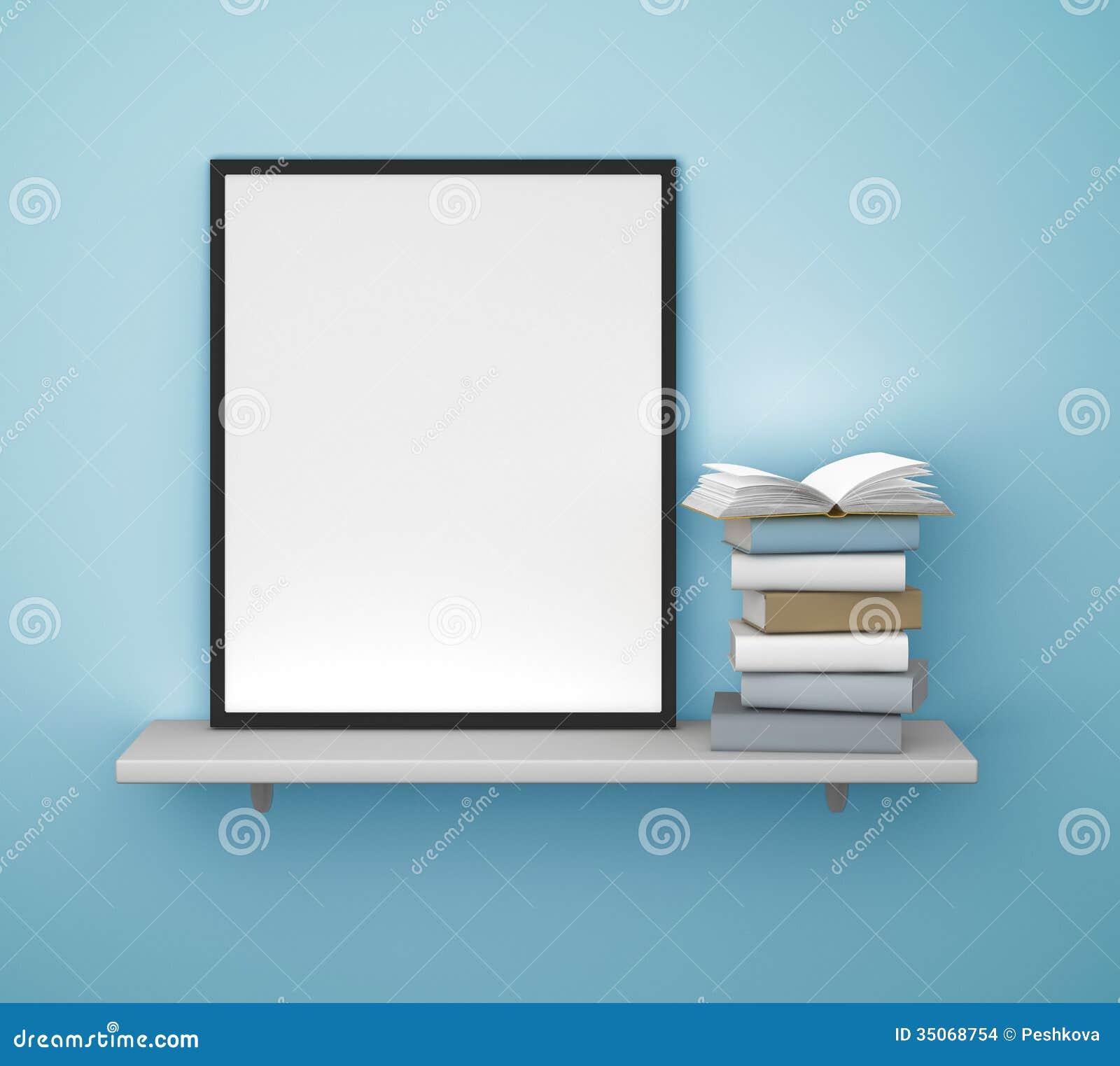 Regal mit Rahmen und Buch