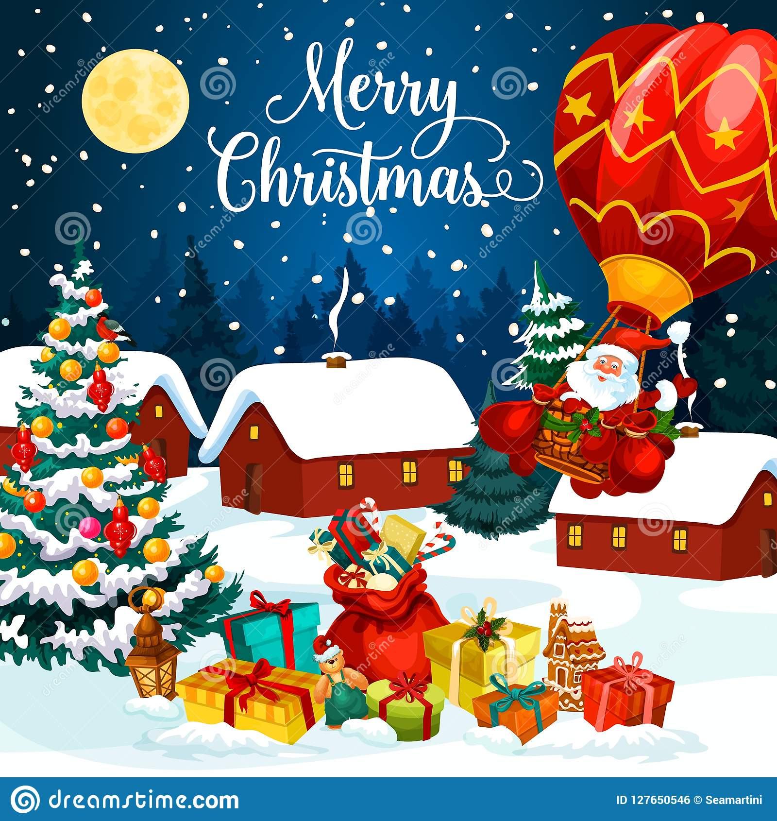 Regali di festa di Natale sulla cartolina d auguri della neve