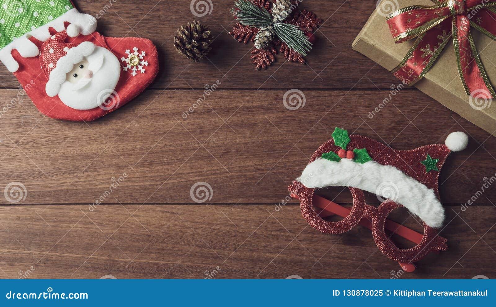 Regali Di Natale In Legno.Regali Di Natale Ornamenti E Raccolta Delle Decorazioni Su Fondo Di