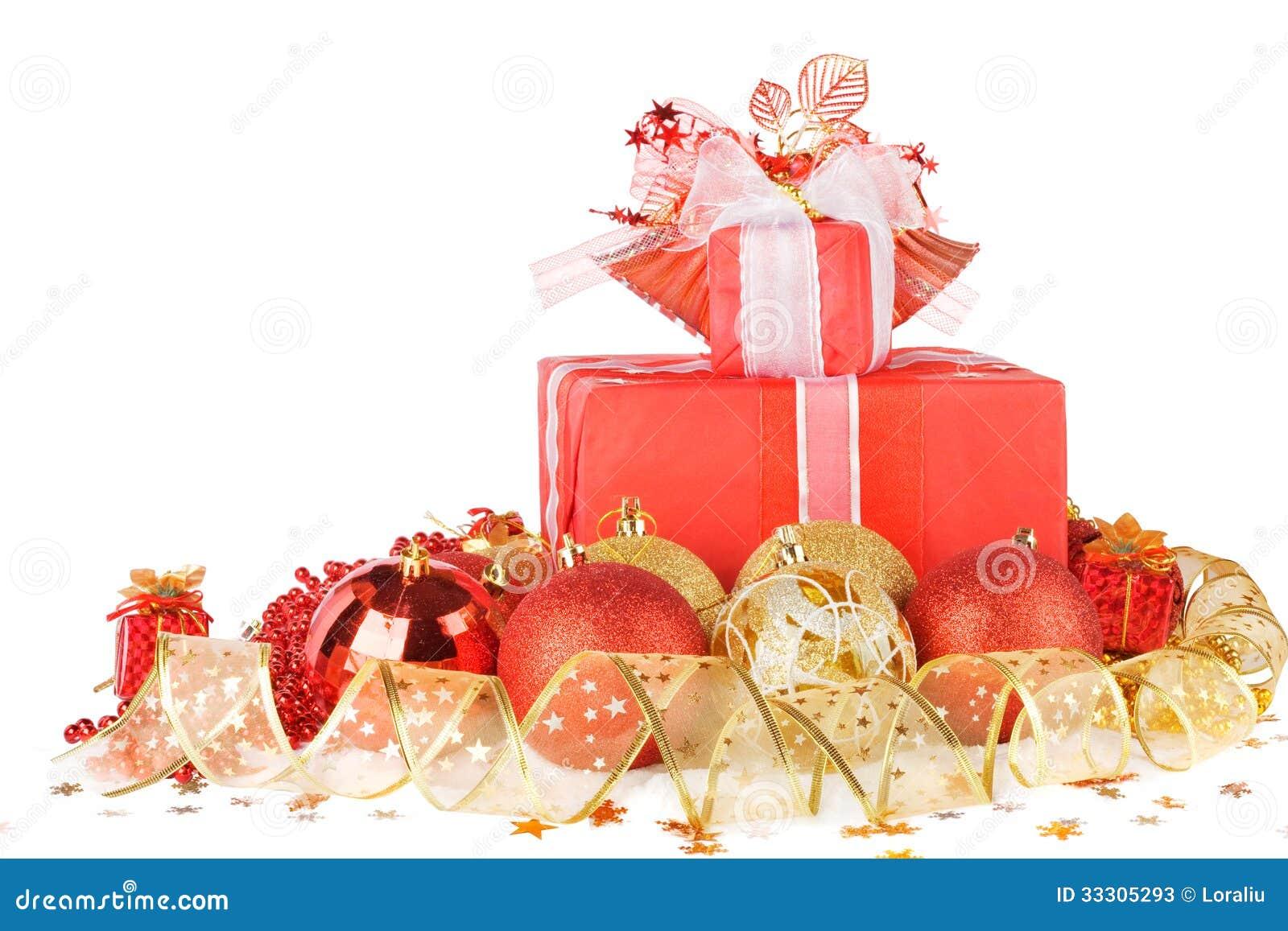 Regali e palle di natale con il nastro dell 39 oro fotografie for Regali di natali