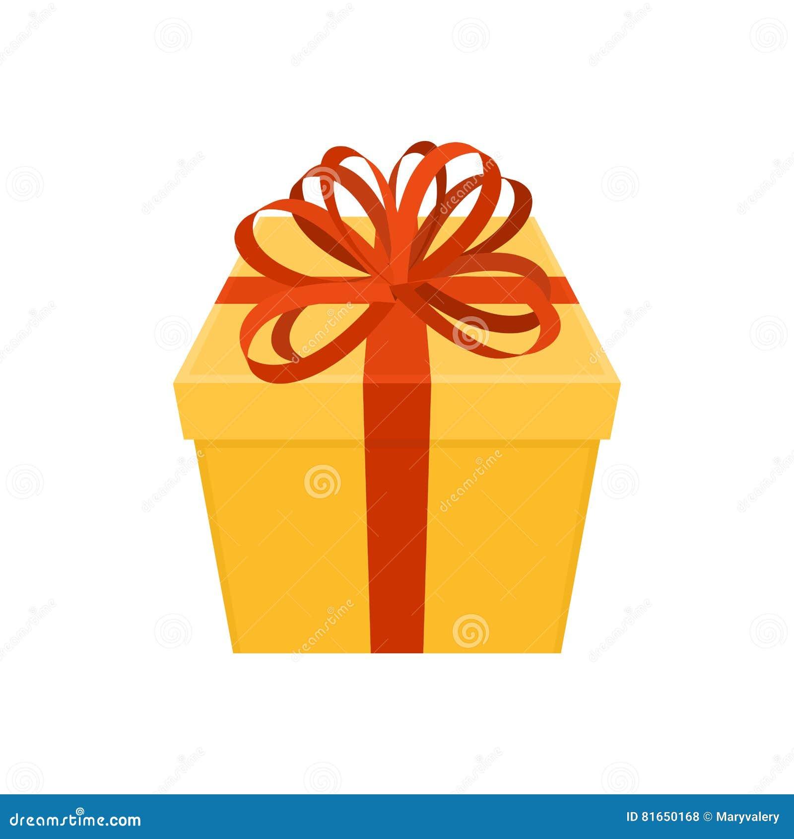 regalo con el arco caja amarilla y cinta roja presente para la navidad ilustracin del vector