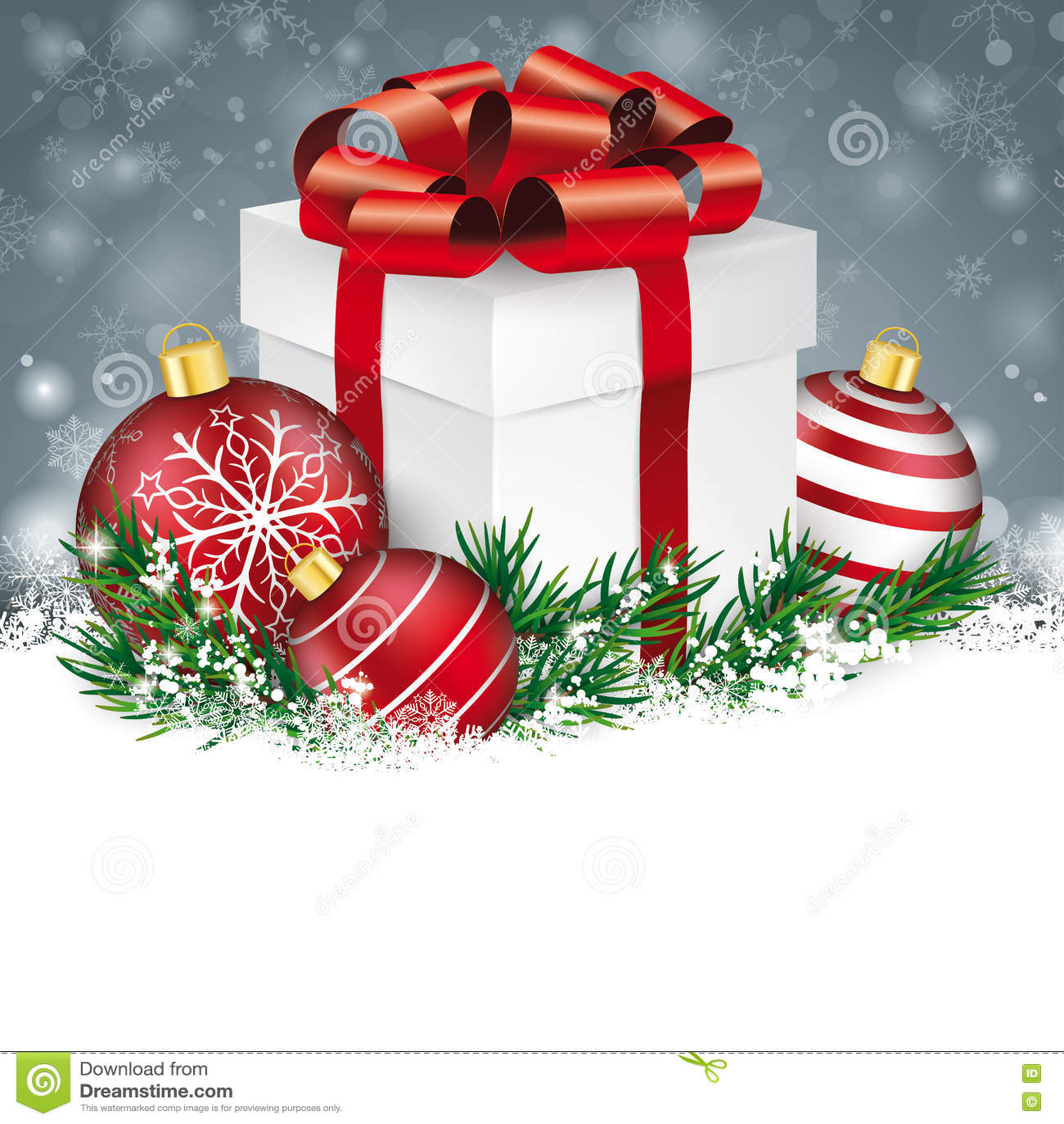 Regalo de Gray Christmas Snowflakes Red Baubles