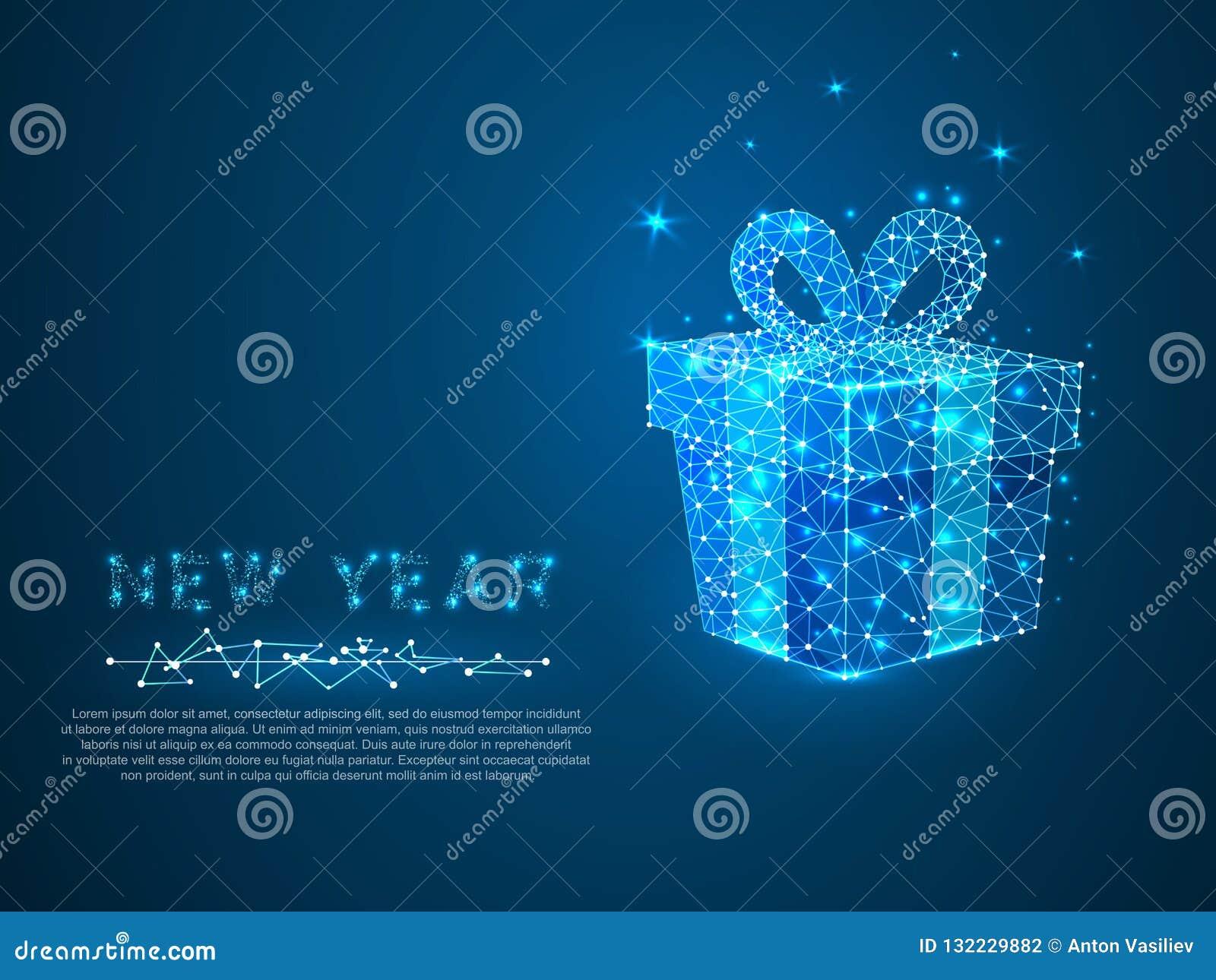 Regalo del Año Nuevo con la línea del polígono Concepto polivinílico bajo del wireframe del día de fiesta del espacio poligonal E