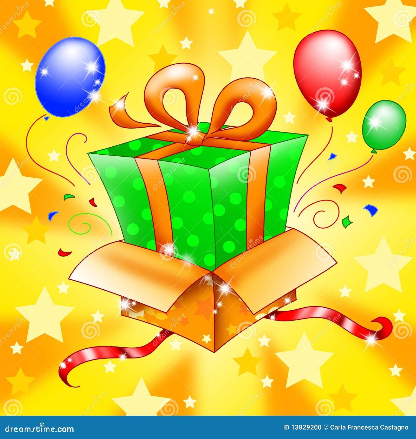 Sorprese Per Un Compleanno regalo di sorpresa illustrazione vettoriale. illustrazione