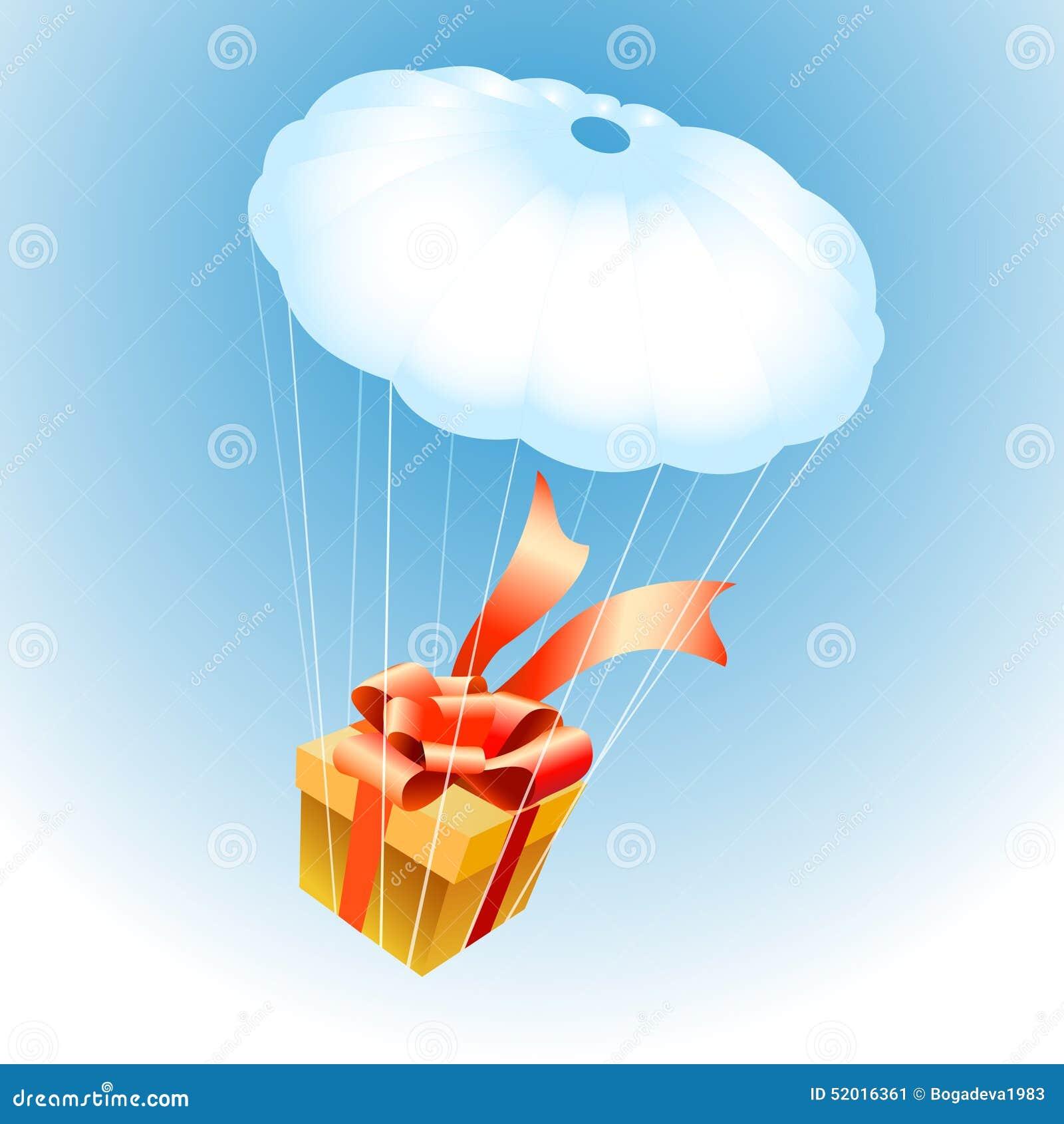Regalo en el paracaídas ilustración del vector. Ilustración de ...