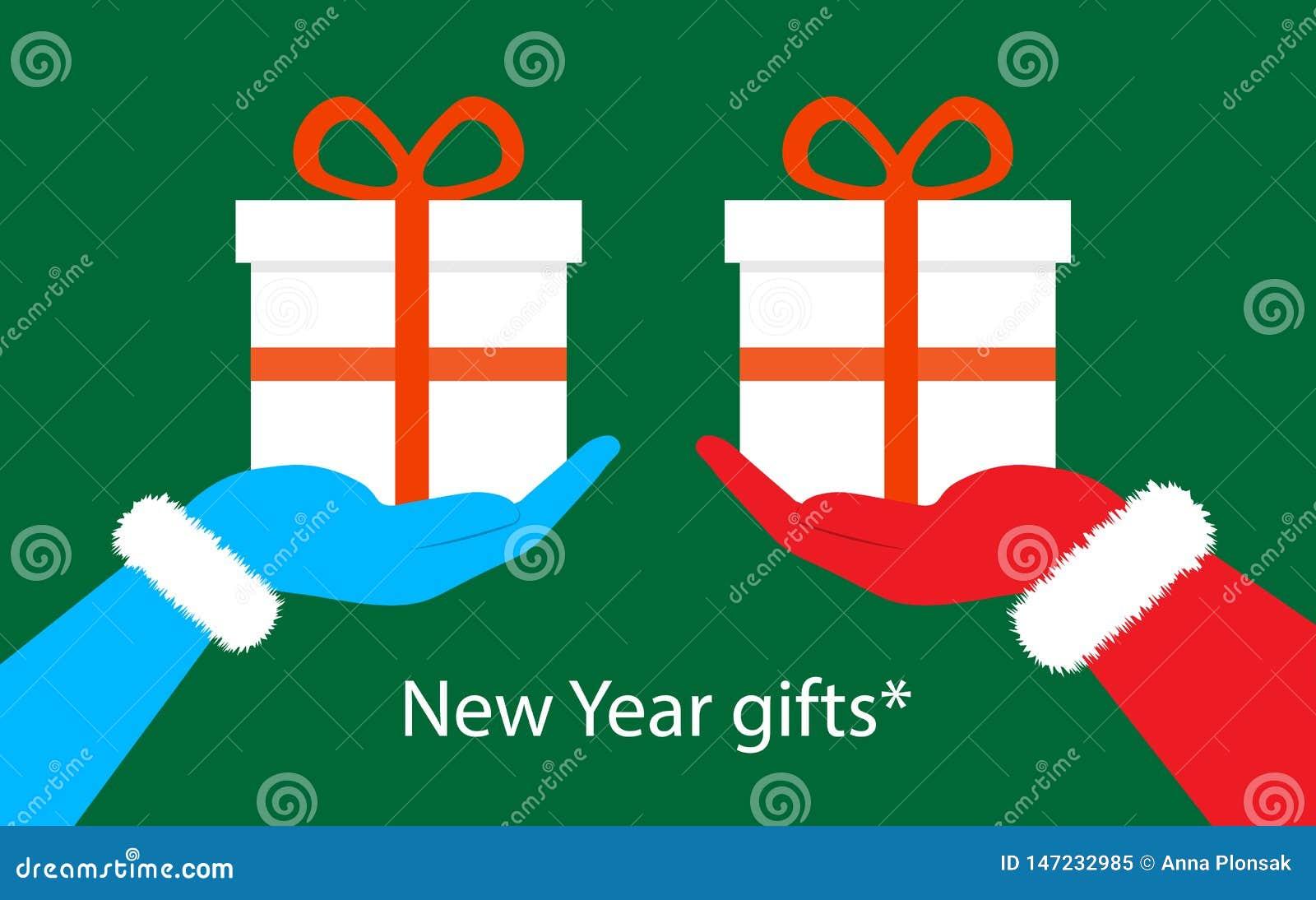 Regalos de la Navidad en la mano de Santa Claus