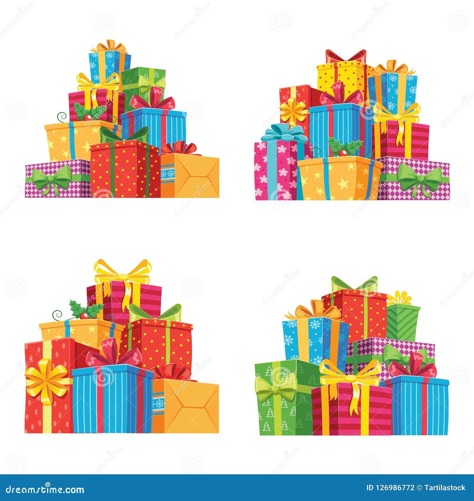 Regalos de Navidad en cajas de regalo La caja del presente de cumpleaños, pila de los regalos de Navidad aisló el ejemplo del vec