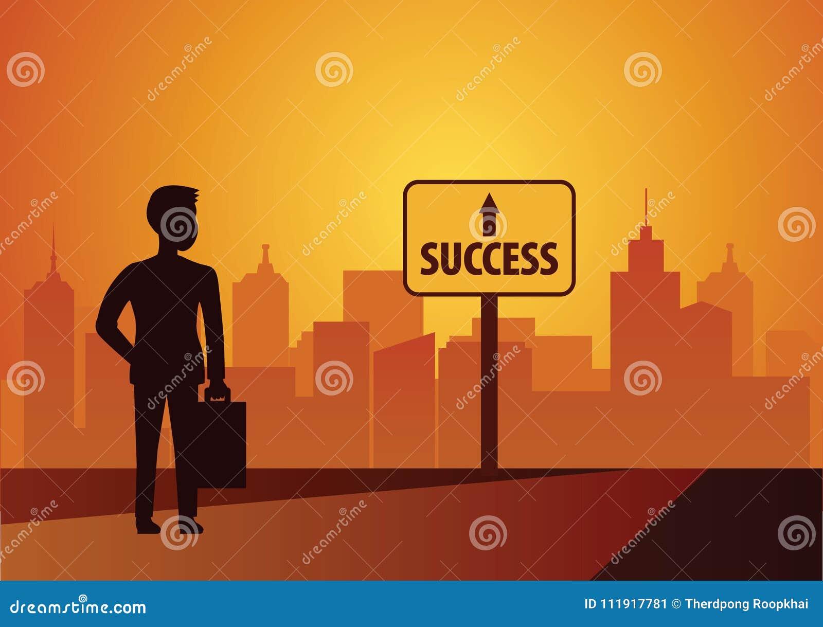 Regard d homme d affaires au signe de succès si tout va bien de marcher et d atteindre