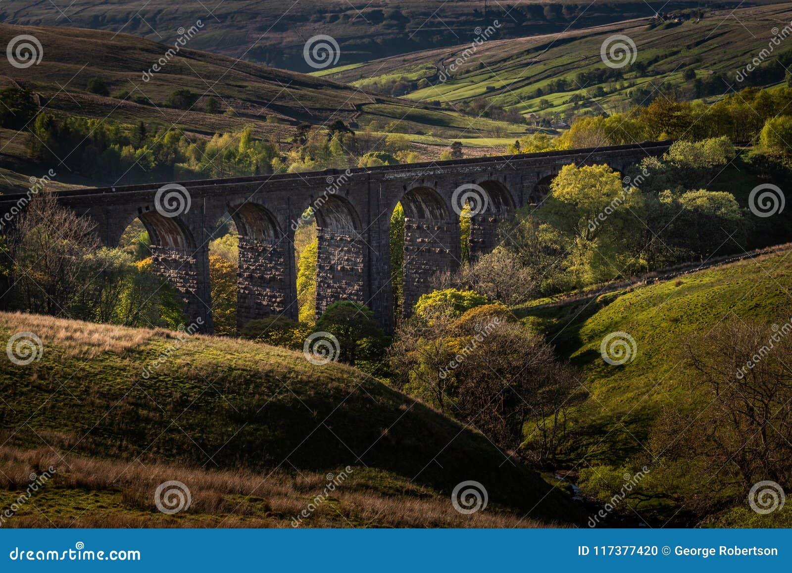 Regard vers le bas au-dessus du viaduc de chemin de fer de tête de bosselure