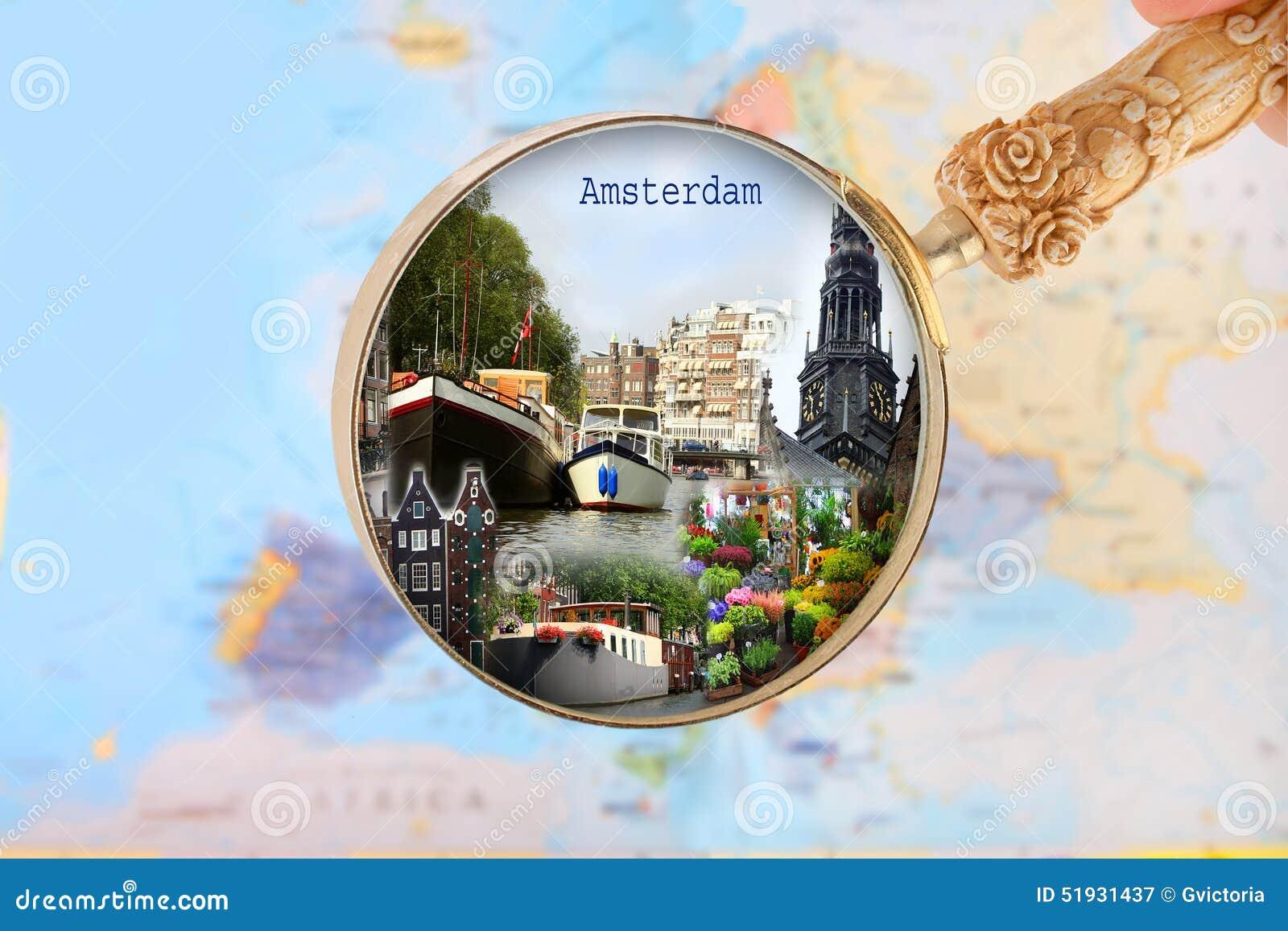 Carte De Leurope Avec La Hollande.Regardant Dedans Sur Amsterdam Hollande Image Stock Image Du