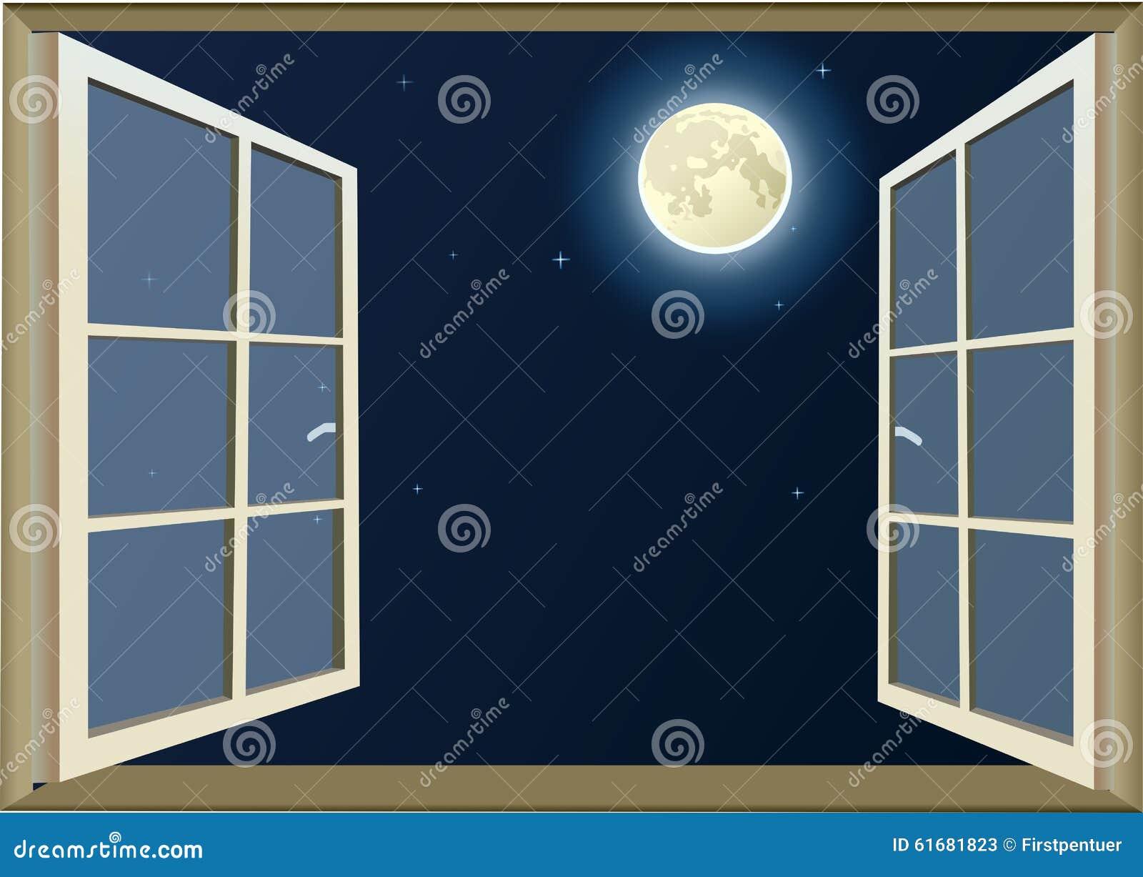 Regardez la lune par la fen tre ouverte image stock for Par la fenetre ouverte bonjour