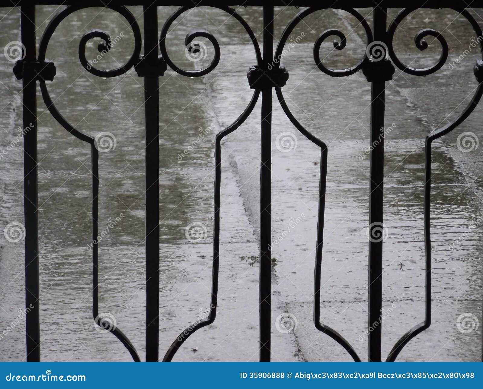 Regen en omheining