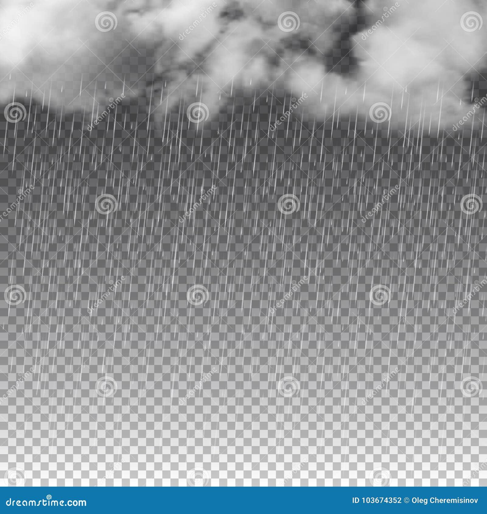 Regen en witte die wolken op transparante achtergrond wordt geïsoleerd Vector illustratie