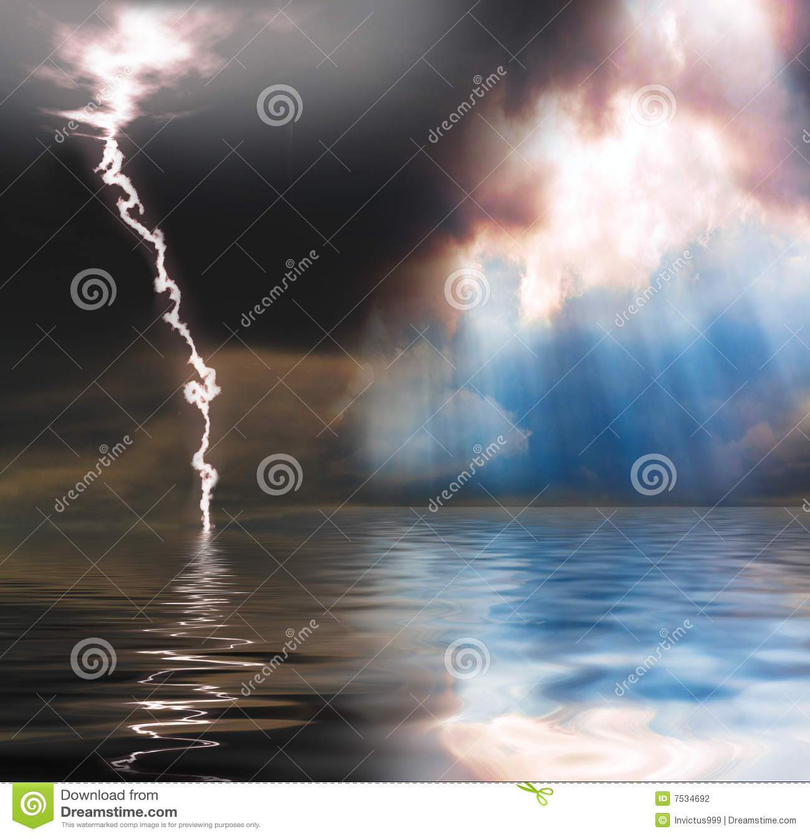 Regen, zonneschijn en bliksem