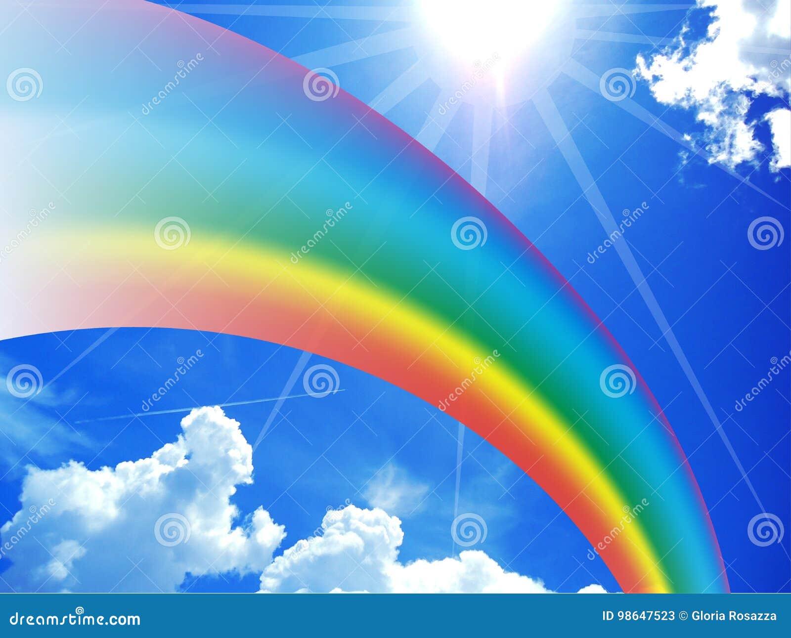 regenbogen auf blauem sonnigem himmel stockbild  bild von